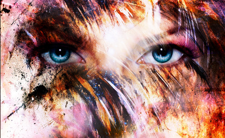 enchantress: beautiful blue women eyes beaming, color feathers effect, painting collage, phoenix makeup Stock Photo