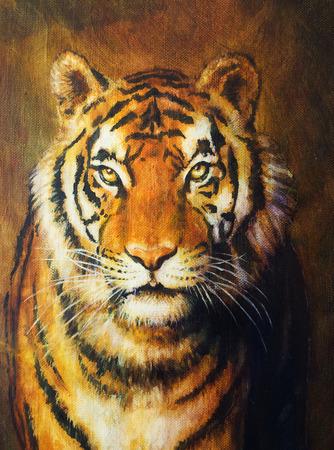 caritas pintadas: cabeza del tigre, pintura al óleo sobre tela de color Foto de archivo