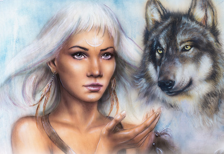 glamour nude: woman portrait with ornament tattoo on face with spiritual wolf and feathers jewelry. Painting