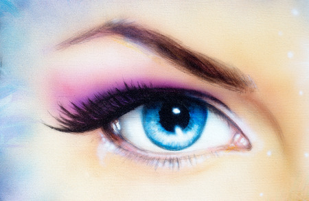 Blue woman eye with violet and pink day makeup. Color painting. Imagens