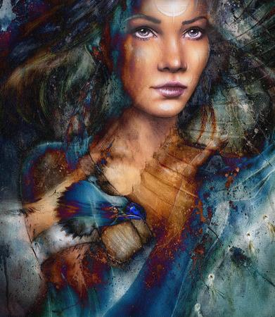 femme dessin: jeune femme indienne avec la plume, avec un tatouage d'ornement, sur fond abstrait structur�.