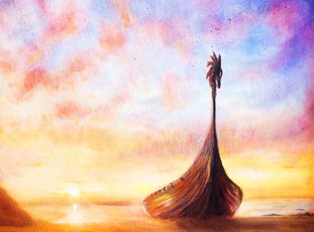 bateau: Viking Bateau sur la plage, peinture sur toile, de bateau avec le dragon de bois.