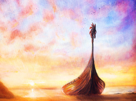 boat: Viking Boat on the beach, painting on canvas, Boat with wood dragon.
