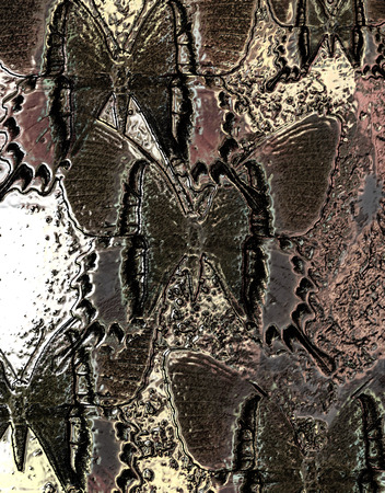 mixed media: illustration of butterfly. mixed media. metal structure effect.
