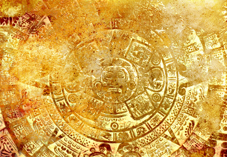 Ancient Mayan Calendar, abstract color Background