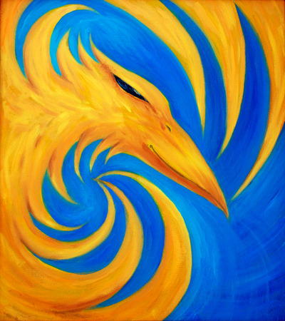 ave fenix: ave fénix de fuego sobre fondo azul, pintura al óleo original, phoenix es de color amarillo.