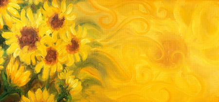 flower leaf: Sunny Sunflowers with sun and ornaments. Oil painting on canvas