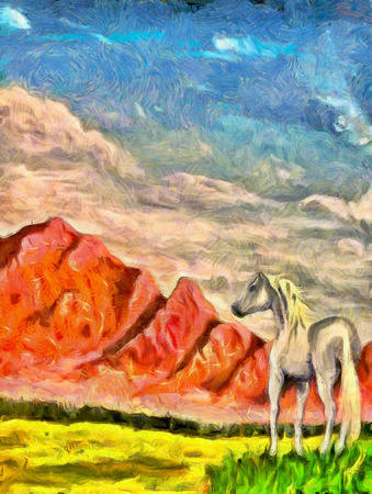 mountain meadow: horse on mountain meadow, original painting and computer post production. Stock Photo