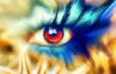 beaming: women eyes beaming, color effect, painting collage, blue makeup