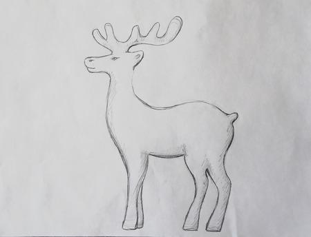 caribou: Sketch illustration reindeer on paper. Stock Photo