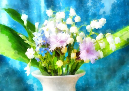 miscellaneous: Beautiful miscellaneous flower, computer Watercolor painting,