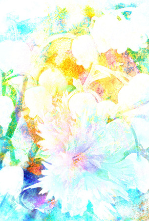 miscellaneous: Beautiful miscellaneous flower, Watercolor painting, pc collage Stock Photo