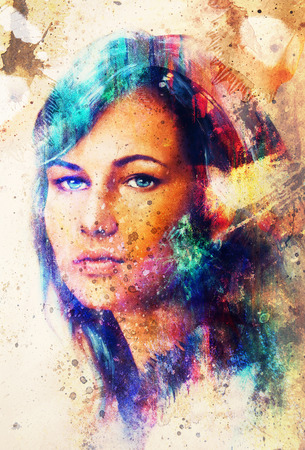 blue eye: Young woman portrait, with long dark hair and blue eye , color painting and spots structure, Abstract background