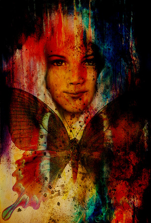 collage art: young girl angelic face and a butterfly. Structure and color Collage art