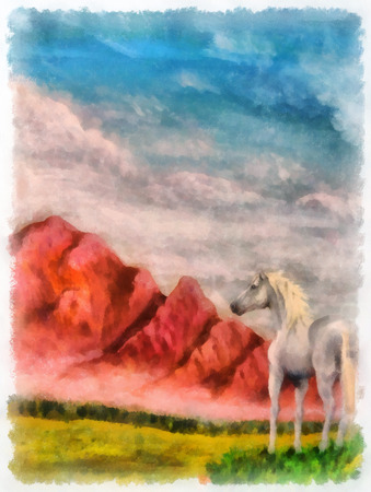 hand torn: horse on mountain meadow, original painting and computer post production. Stock Photo