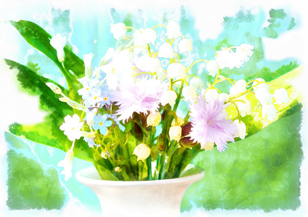 halm: Flowers in a vase, computer aqarell  collage Stock Photo
