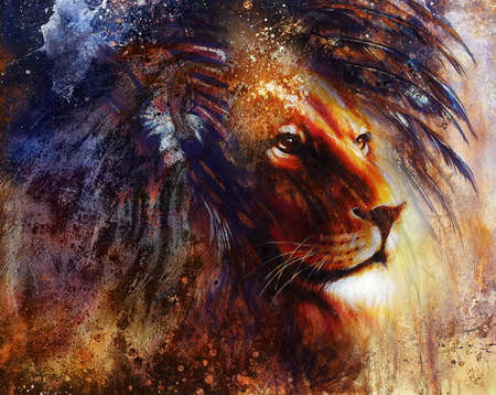 dark face: lion face profile portrait, on colorful abstract  background.