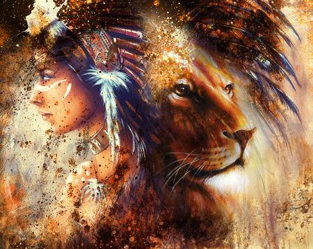 LEONES: cara del león perfil retrato, en el fondo colorido abstracto.