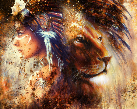 lion face profile portrait, on colorful abstract  background.