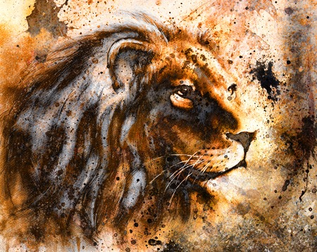 lion collage on color abstract  background,  rust structure, wildlife animals