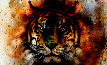 panther: tiger collage on color abstract  background,  rust structure, wildlife animals, eye contact. Stock Photo