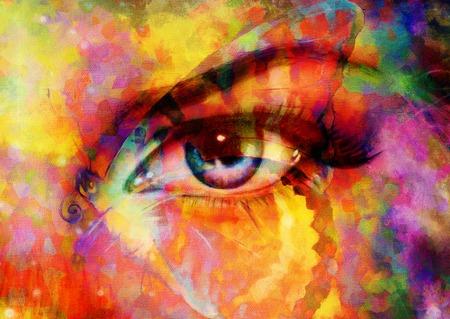 donna farfalla: farfalle di colore e donna occhio, tecnica mista, astratto colore di sfondo.