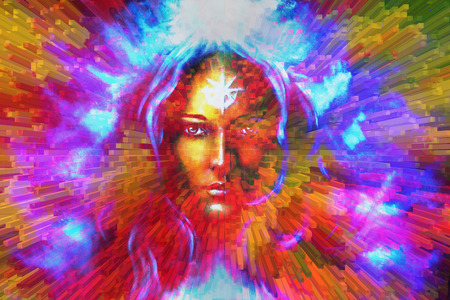 emanating: mystic face women, with color background collage. eye contact