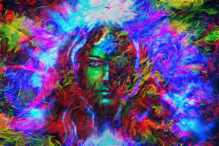 powerful aura: mystic face women with butterflies, color background collage. eye contact Stock Photo
