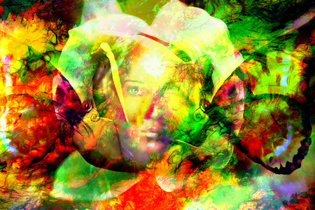 guarding: mystic face women with butterflies, color background collage. eye contact Stock Photo
