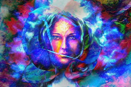 emanating: mystic face women in flwer, with color background collage. eye contact