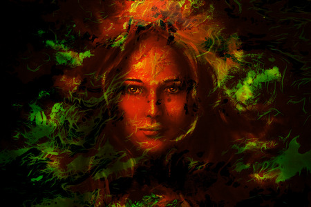 enchantress: mystic face women, with color background collage. eye contact