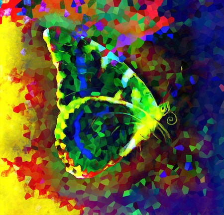 medium: illustration of a  color butterfly, mixed medium, abstract color background Stock Photo