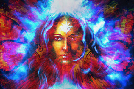 powerful: mystic face women with butterflies, color background collage. eye contact Stock Photo