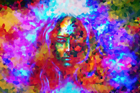 eye contact: mystic face women, with color background collage. eye contact