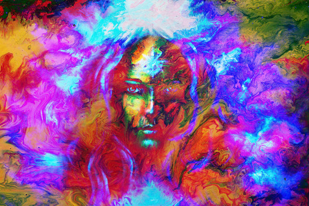 powerful aura: mystic face women, with color background collage. eye contact