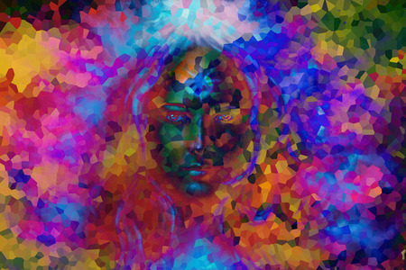 mystic: mystic face women, with color background collage. eye contact