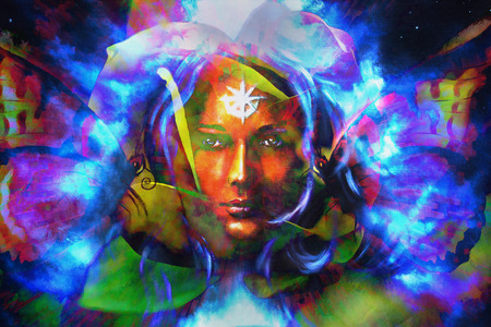 emanating: mystic face women with butterflies, color background collage. eye contact Stock Photo