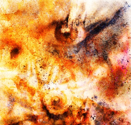 women eye beaming color rust effect painting collage and abstract sea shell photo