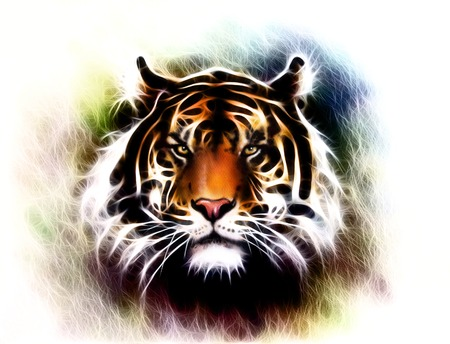 painting of a bright mighty tiger head on a soft toned abstract background eye contact.