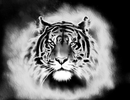 painting of a bright mighty tiger head on a soft toned abstract background eye contact. Black and white. Stock Photo
