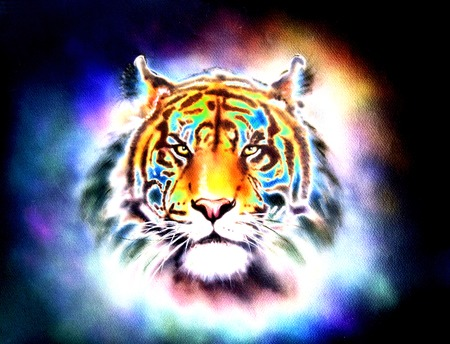 looking straight: painting of a bright mighty tiger head on a soft toned abstract background eye contact.
