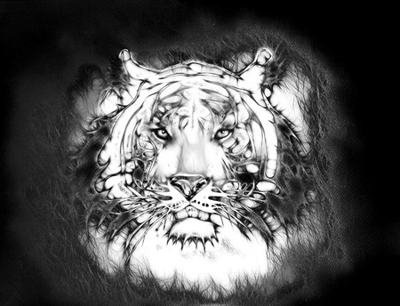 looking straight: painting of a bright mighty tiger head on a soft toned abstract background eye contact. Black and white. Stock Photo