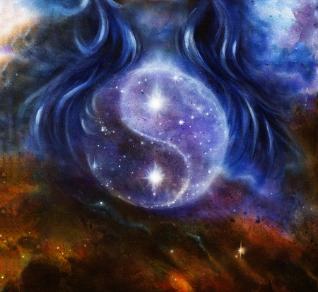 Yin Yang Symbol in space with  stars, about woman hair, original painting.