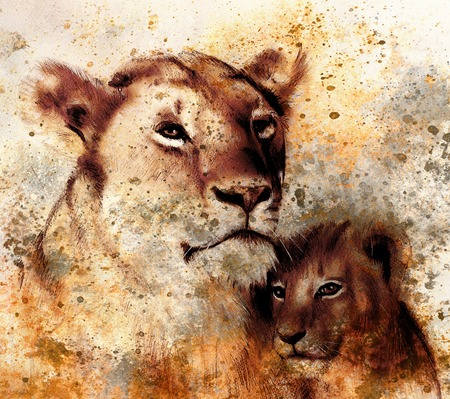 painting style: lion mother and lion cub, painting on paper. with spots abstract background, rust structure and old vintage style.