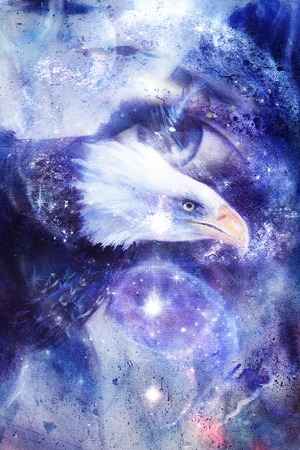 spirit medium: painting eagle with woman eye on abstract background and Yin Yang Symbol in space with stars. Wings to fly, USA Symbols Freedom.