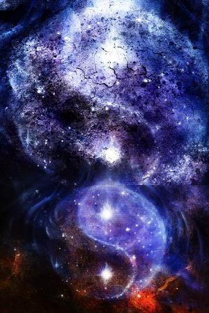 星、パチパチ構造抽象的な背景と空間の陰陽のシンボル