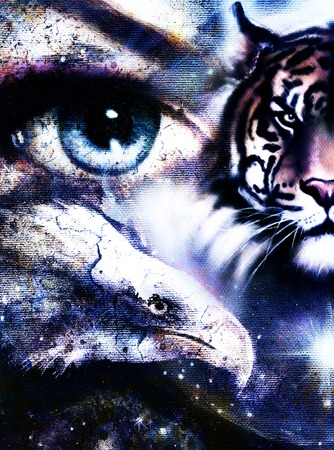 wholeness: painting eagles and tiger with woman eyes on abstract background in space with stars. Wings to fly