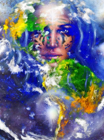 metamorphosis: Goddess Woman with tattoo on face and earth.