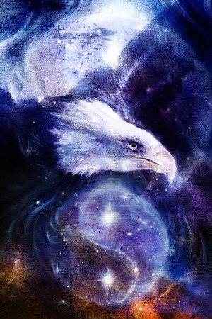 yang style: painting eagle on abstract background and Yin Yang Symbol in space with stars. Wings to fly, USA Symbols Freedom. Vintage style picture. Yin Yang Symbol in space with  stars