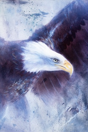 bald woman: painting eagle on abstract background, wings to fly, USA Symbols Freedom
